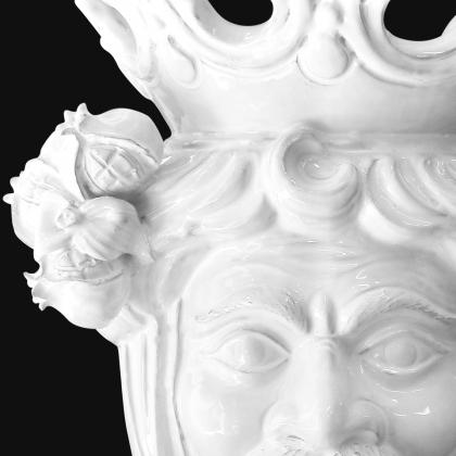 Testa h 40 white line melograni maschio - Teste di moro moderne Sofia Ceramiche
