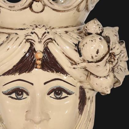 Testa h 40 limoni avorio donna - Ceramiche di Caltagirone