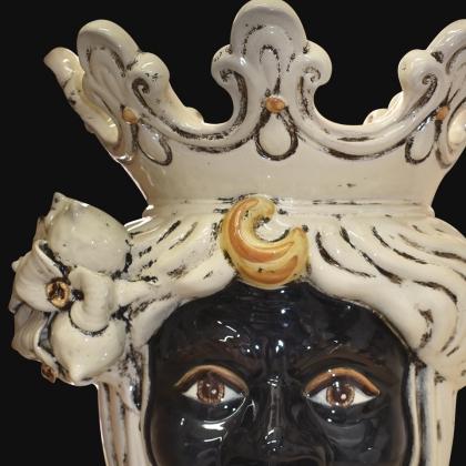 Testa h 40 limoni avorio maschio moro - Ceramiche di Caltagirone