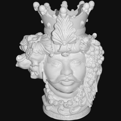 Testa h 50 c/frutta white line maschio - Teste di moro moderne Sofia Ceramiche
