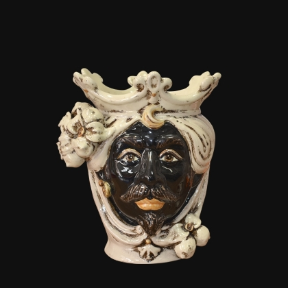 Ceramic Head with lemons h 25 ivory line male