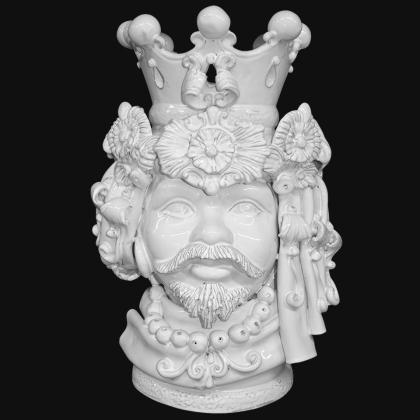 Testa h 50 turbante white line uomo - Teste di moro moderne Sofia Ceramiche