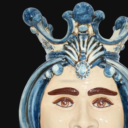 Ceramic Head of Sicily h 38 mono blue male - Sofia Ceramiche artistic Ceramics