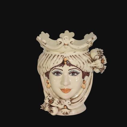 Testa h 25 con melagrane in avorio donna - Ceramiche di Caltagirone