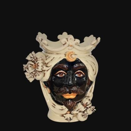 Testa h 25 con melagrane in avorio maschio moro - Ceramiche di Caltagirone