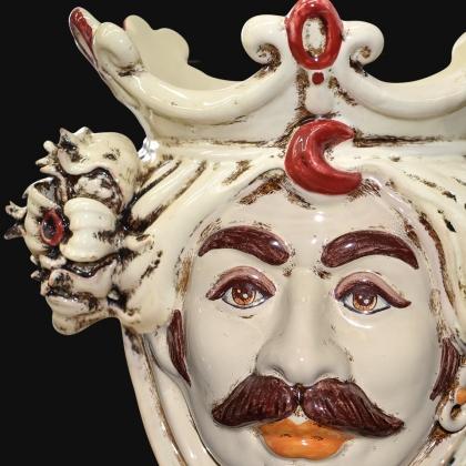 Testa h 25 con melagrane in avorio maschio bianco - Ceramiche di Caltagirone
