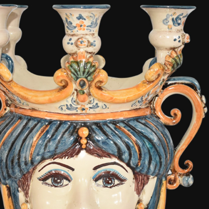 Ceramic Head with candle holder h 25 blu/orange male