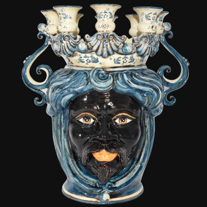 vasi teste di moro arredamento moderno in ceramica siciliana di Caltagirone