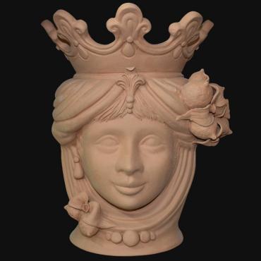 Vaso a testa di moro grezzo siciliana in terracotta modellato a mano