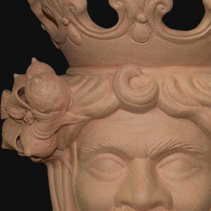 Ceramic Head with lemons h 40 terracotta male