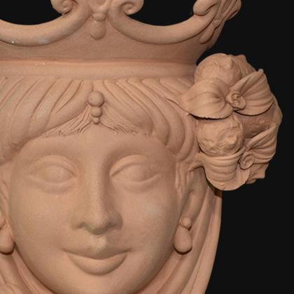 Ceramic Head with lemons h 25 terracotta female