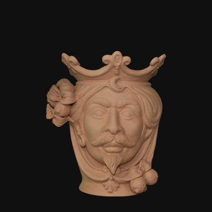 Ceramic Head with lemons h 25 terracotta male
