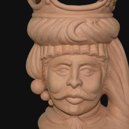 Testa h 20 grezza modellata in terracotta maschio