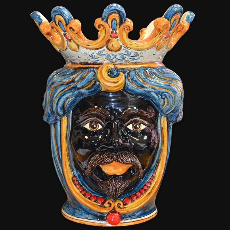 Vaso in ceramica artistica di Caltagirone firmato Sofia Ceramiche. Mori siciliani fatti a mano