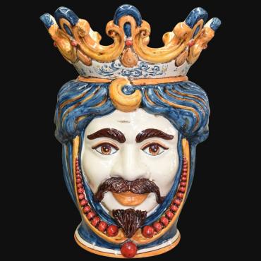 Coppia di teste di moro in ceramica siciliana di Caltagirone Sofia la maiolica