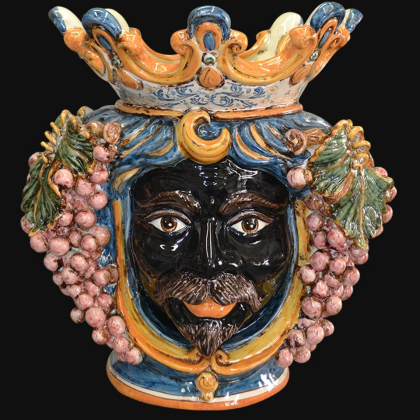 Ceramic Head with grapes h 40 blue/orange male