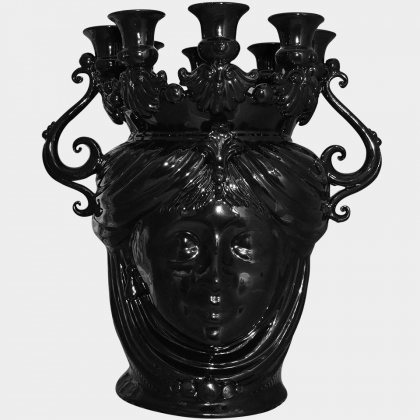 "Sicilian ceramic ""Moor's head"" Candle stick from Caltagirone."