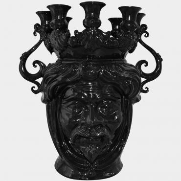 Vaso portacandele con viso di donna in maiolica artigianale di Caltagirone. Testa moderna nera