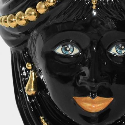 Testa h 40 c/perline black/gold c/espressione femmina labbra arancio