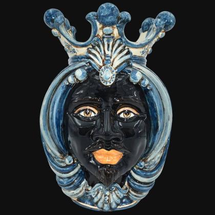 Testa h 38 in mono blu maschio moro - Ceramiche Di Caltagirone Sofia