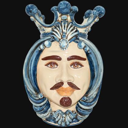 Testa h 38 in mono blu maschio bianco - Ceramiche Di Caltagirone Sofia