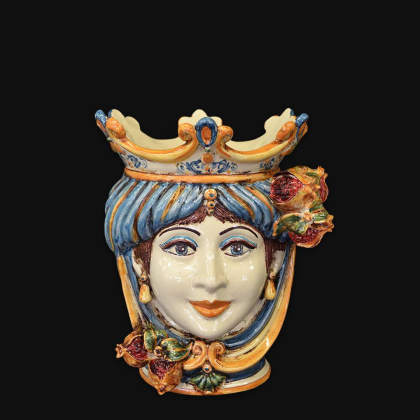 Ceramic Head with pomegranate h 25 blu/orange female