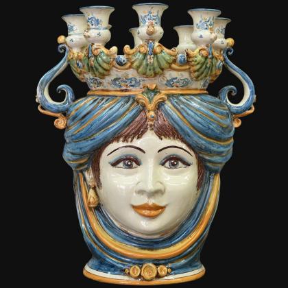 Testa a candeliere h 40 blu/arancio femmina
