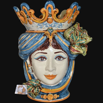 Ceramic Head with figs h 40 blu/orange female