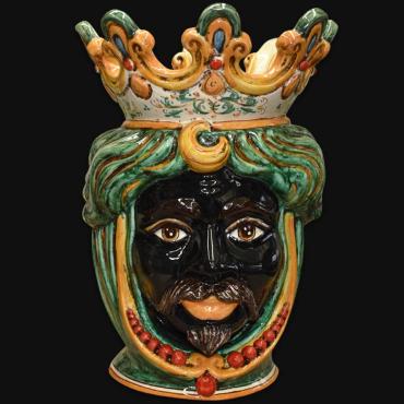 Vaso testa di Caltagirone in ceramica artistica modellata a mano