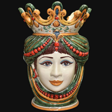 Vaso con viso di donna in ceramica modellato e decorato a mano, Sofia la maiolica calatina