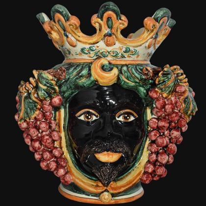Ceramic Head with grapes h 40 green/orange male