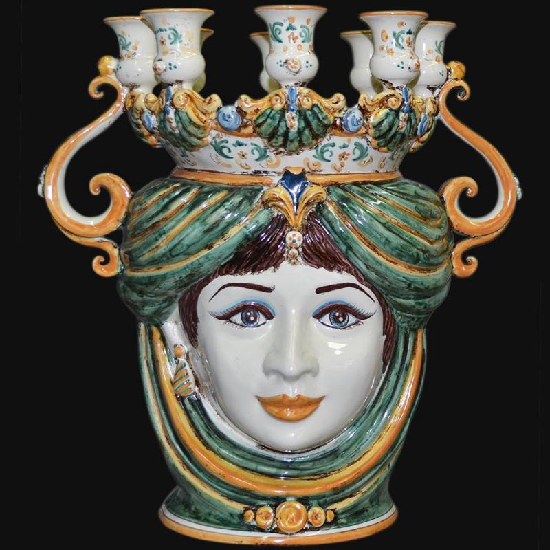 Testa porta candele in ceramica di Caltagirone. Ceramiche siciliane made in italy