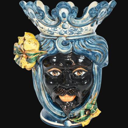 "Sicilian ceramic ""Moor's head"" with sicilian lemons from Caltagirone"