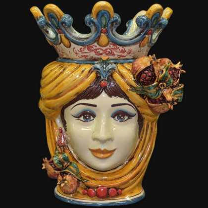 Ceramic Head with pomegranate h 40 yellow/orange female