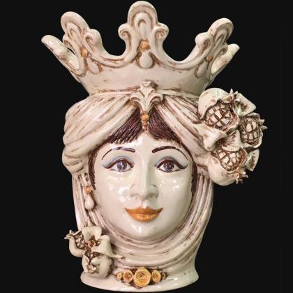 Testa h 40 melagrana avorio donna - Ceramiche di Caltagirone