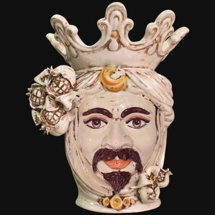 Testa h 40 melagrana avorio maschio bianco- Ceramiche di Caltagirone