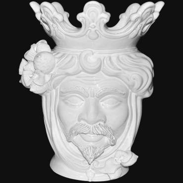 Teste di moro moderne Sofia Ceramiche, Vaso testa di moro bianca, vasi moderni in ceramica