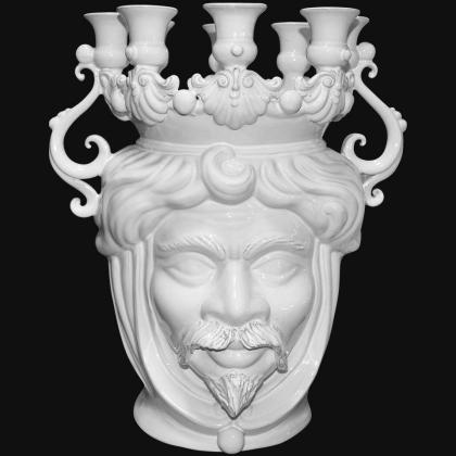 Testa a candeliere h 40 white line maschio - Teste di moro moderne Sofia Ceramiche