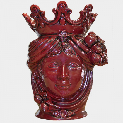 Ceramic Head with lemons h 40 bordeaux female