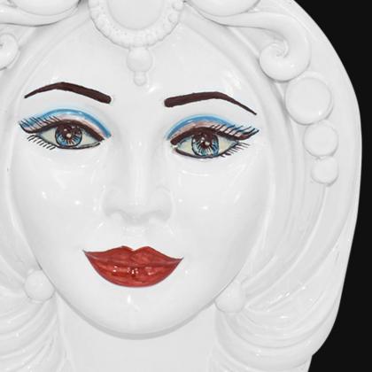 Ceramic Head h 40 white line male - Modern Moorish heads Sofia Ceramiche