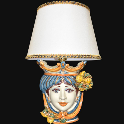 Ceramic Lamp Head with lemons h 55 cm blu/orange female