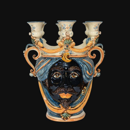 Vaso a testa porta candele in ceramica artistica di Caltagirone Sofia made in Italy
