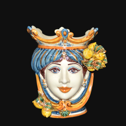 Ceramic Head with lemons h 25 blu/orange female