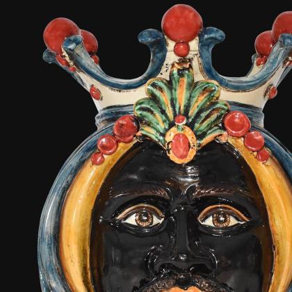 Lume a Testa h 38 in blu e arancio maschio moro - Ceramiche Di Caltagirone Sofia