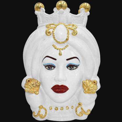 Testa h 40 turbante white and gold con espressione femmina