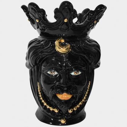 Testa h 40 perline black gold con espressione uomo labbra arancio