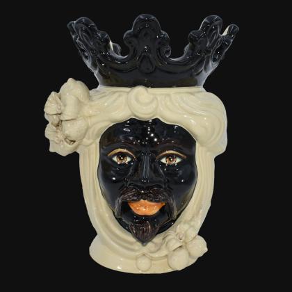Testa h 40 limoni avorio maschio - Ceramiche di Caltagirone