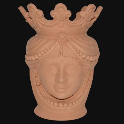 Testa h 40 c/perline grezza in terracotta femmina