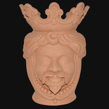 Testa h 40 c/perline grezza in terracotta maschio