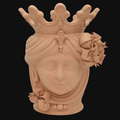 Testa h 40 melograni grezza in terracotta femmina